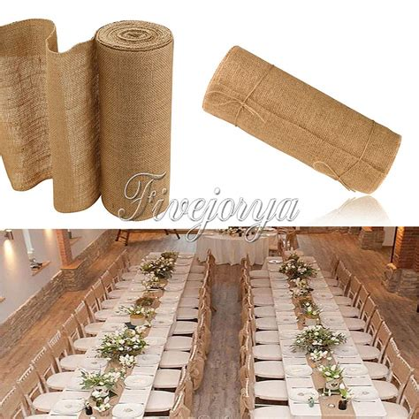burlap table runner with lace 10m 30cm burlap lace hessian table runner roll vintage