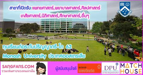 ทุนเรียนต่อระดับปริญญาตรี-โท 62 Monash University ประเทศ ...