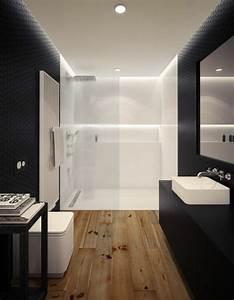 Salle de bain noire marron et grise comment l39amenager for Salle de bain design avec décoration dinosaure