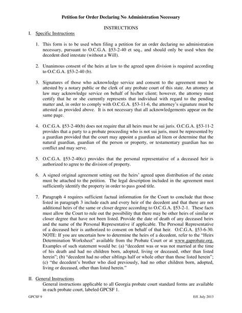georgia small estate affidavit form free georgia small estate affidavit petition for order
