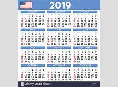 Simple 2019 Year Calendar Week Stock Photos & Simple 2019