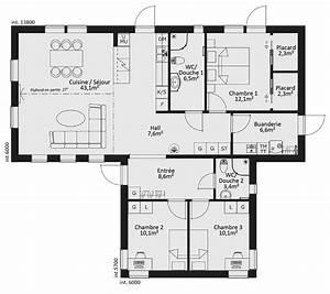 plan maison en bois plain pied maison ossature bois de With plan de maison cubique 4 plan maison 180m2 3 chambres gratuit plan n17691 univia