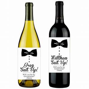 bowtie will you be my groomsman personalized wine labels With how to make custom wine labels