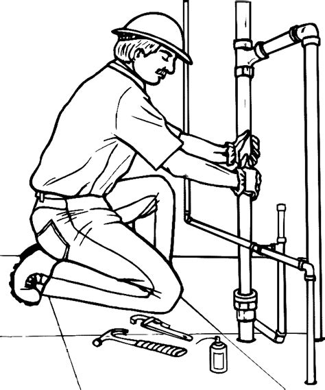 14785 plumber clipart black and white coloring plumber is replacing a broken pipe picture