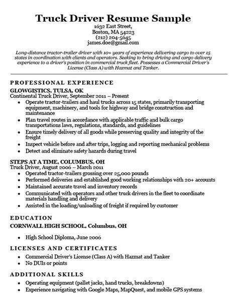 truck driver resume sle resume companion