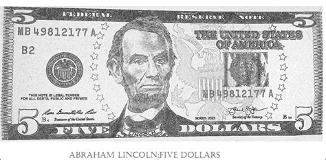 Free Coloring On Abraham Lincoln Five Dollar Bill Great