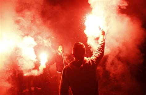 lethal football flares fuelled  hooligan friendly