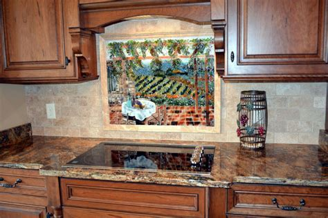 Italian Vineyard Theme Fused Glass Kitchen Backsplash