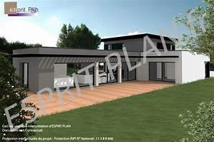 bien enduit exterieur beton cellulaire 4 plain pied With lovely maison bois toit plat 12 maison contemporaine avec patio