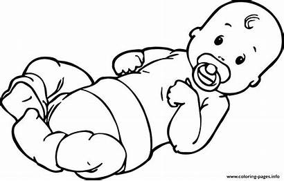 Coloring Pages Pacifier Simple Drawing Printable Human