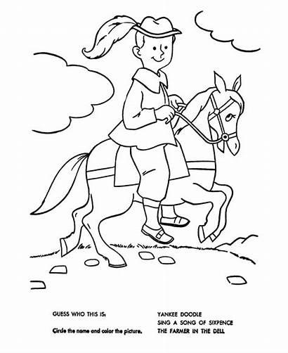 Coloring Nursery Rhymes Yankee Doodle Quiz Pages