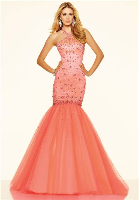 mermaid halter corset  coral satin tulle beaded prom dress