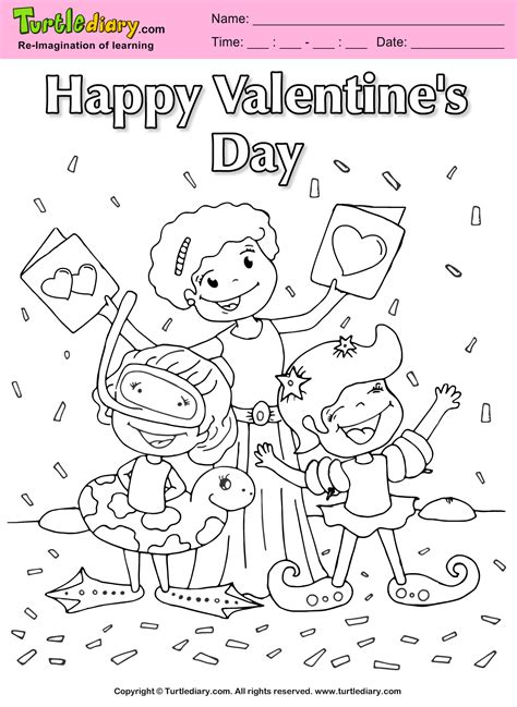family valentine day coloring sheet turtle diary