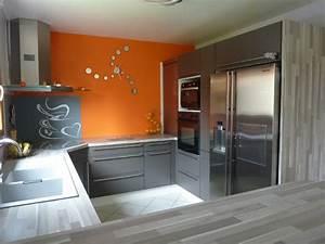 idee deco cuisine orange With idee deco cuisine avec cuisine orange et gris
