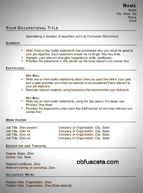 Functional Resume Format Template by Resume Templates Obfuscata