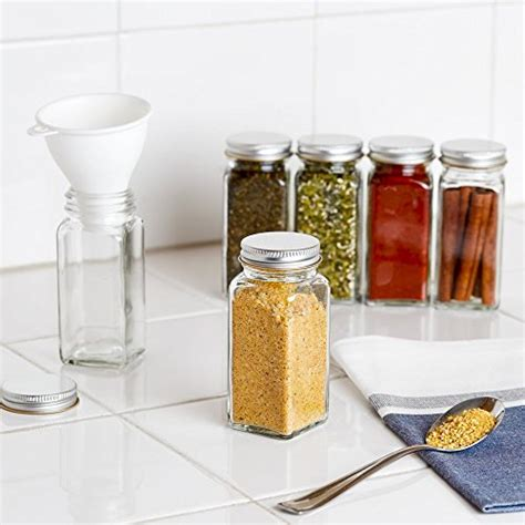 Glass Spice Jars With Shaker Lids by 12 Square Glass Spice Bottles 4oz Spice Jars With Silver