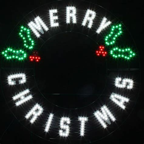 red green white led message merry christmas wreath