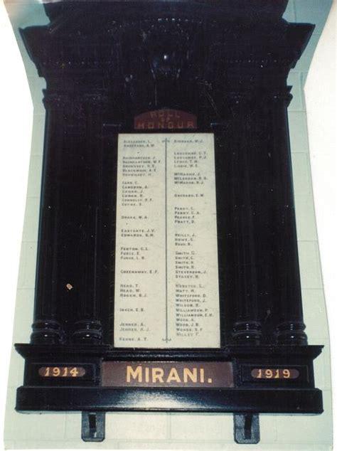 mirani honour board war memorials  mackay district