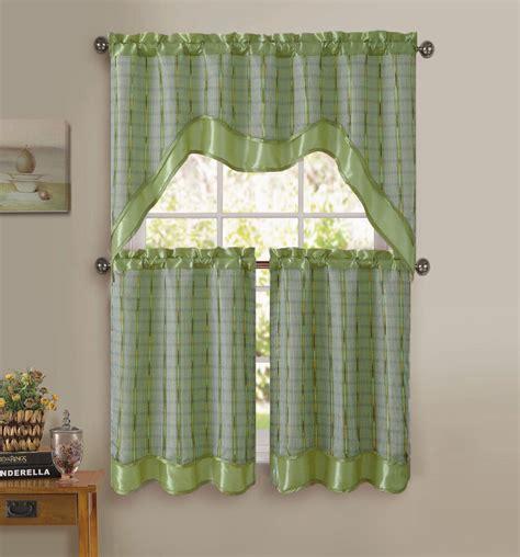 sage green  pc kitchen window curtain set double layer
