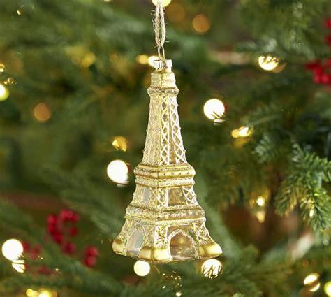 cut crystal eiffel tower xmas ornament eiffel tower glass ornament pottery barn