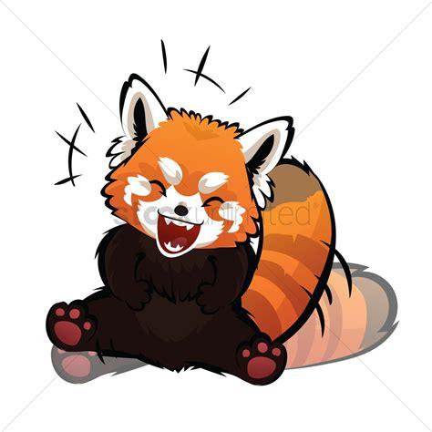 cartoon red panda laughing vector image  stockunlimited