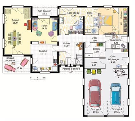 plan maison plain pied gratuit toit plat