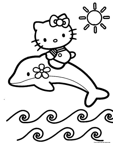 Print Out Coloring Pages Of Dolphin With Hello Kitty For Kidsfree Printable Coloring Pages For Kids