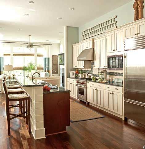 wall kitchen  island future home ideas