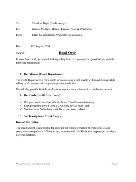 Handing Notes Template by Sle Of Handing Note