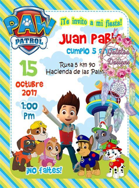 Invitaciones Paw Patrol Patrulla Canina Cumple Tarjetas