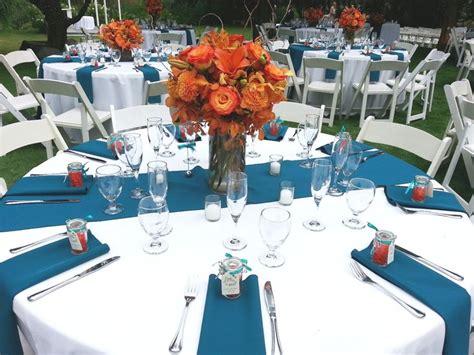 teal and orange wedding reception outdoor wedding reception blue