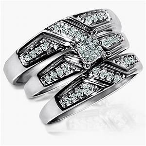 princess cut real diamond trio set his and her rings 3 With 3 piece wedding ring sets for her