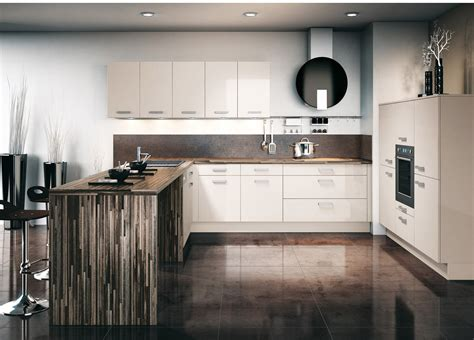 travail en bureau cuisine brillante avec un plan de travail en bois photo 7