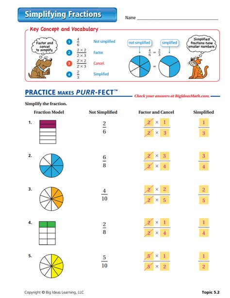 worksheet works simplifying fractions answer key