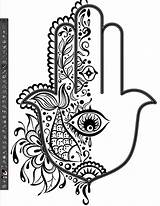 Hamsa Hand Fatima Tattoo Eye Illustrator Sketch Pattern Half Drawing Coloring Pages Catching Palm Flower Miss Fish Heart Artwork Chatz sketch template