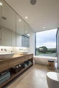 Grand Miroir Mural : id e d coration salle de bain salle de bain scandinave miroir mural et grand comptoir en bois ~ Preciouscoupons.com Idées de Décoration
