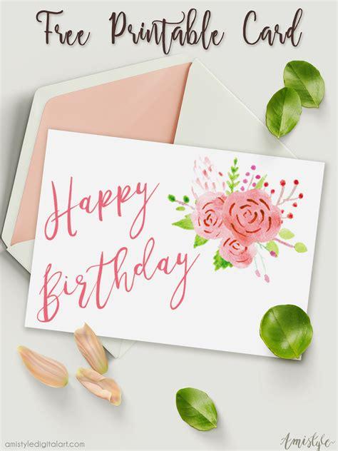 printable birthday card  watercolor floral design
