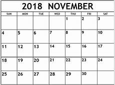 November 2018 Calendar Printable Word – Printable Calendar