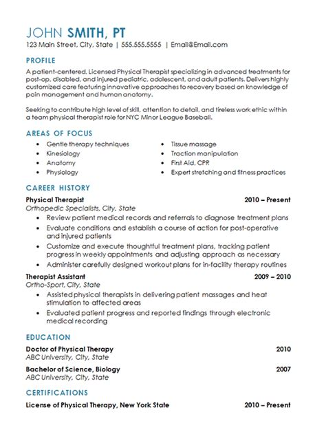 physical therapy resume exle sports