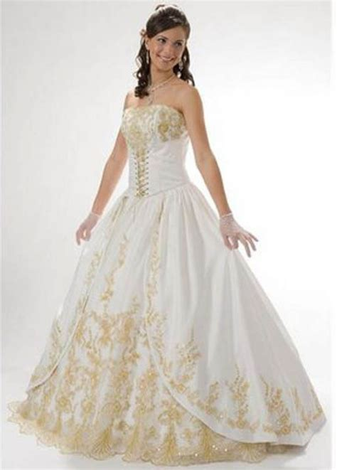 white  gold wedding dress gold wedding dresses