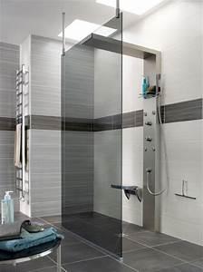 douche a l39italienne dernieres tendances travauxcom With porte de douche coulissante avec carrelage salle de bain lapeyre mosaique