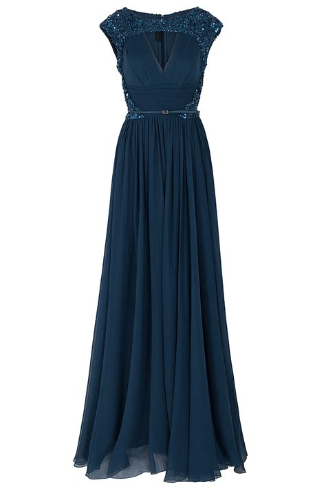 lyst elie saab chiffon beaded cap sleeve gown  blue