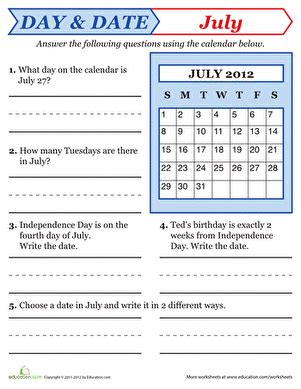 reading a calendar worksheet education