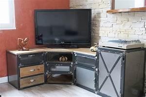 Meuble D Angle Pour Tv : meuble tv d angle haut id es de d coration int rieure ~ Teatrodelosmanantiales.com Idées de Décoration