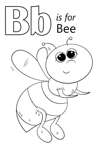 letter    bee coloring page  printable