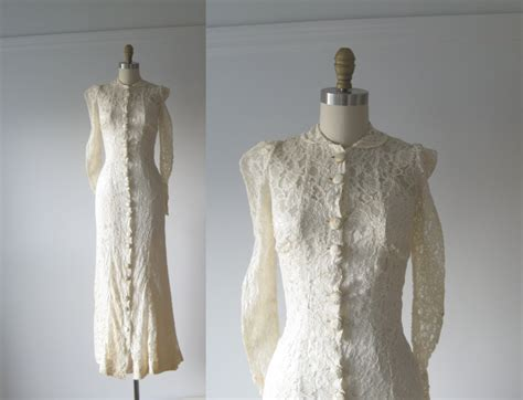 Vintage 1930s Wedding Dress / 30s Lace Dress By Dronning