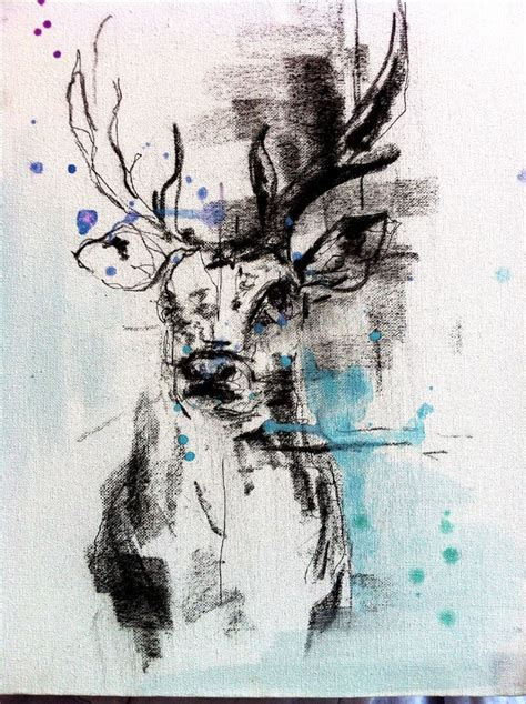 stag head charcoal watercolours art painting