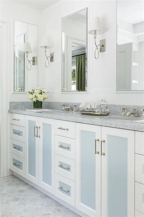 blue washstand  eclipse cabinet doors transitional