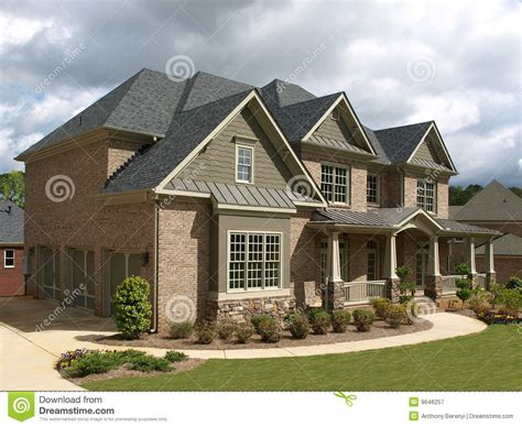 luxury model home exterior weather angle royalty