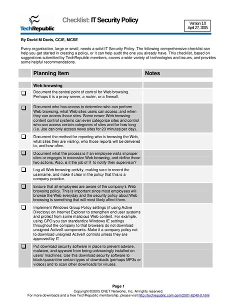 data transfer policy templat security policy checklist